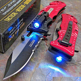 "7.75"" Tac Force Red Fire Fighter Rescue LED Flashlight Pocket Knife - Frontier Blades"