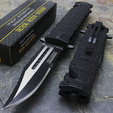 "TAC FORCE TF-710BK 8.5"" SAWBACK BOWIE SPRING ASSISTED FOLDING KNIFE - Frontier Blades"