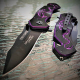 "7.25"" Tac Force Purple Dragon Fantasy Mini Pocket Knife (TF-759BP) - Frontier Blades"