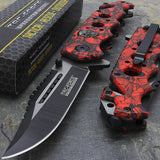 RED SKULLS FANTASY ASSISTED OPEN FOLDING POCKET KNIFE TF-809RD TAC FORCE - Frontier Blades