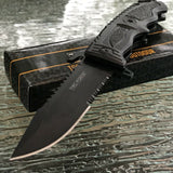 "TAC FORCE SPRING ASSISTED TACTICAL BLACK BOWIE SAWBACK FOLDING POCKET KNIFE 8.5"" - Frontier Blades"