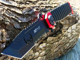"9.5"" MTECH USA TANTO SKULL RED SAWBACK SPRING ASSISTED FOLDING KNIFE Zombie - Frontier Blades"