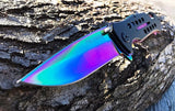 "8.0"" TAC FORCE SPRING ASSISTED TACTICAL RAINBOW FOLDING Blade Pocket Knife - Frontier Blades"