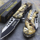 "7.75"" Tac Force Brown Forest Wood Camo Tactical Rescue Pocket Knife - Frontier Blades"
