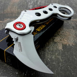 "7.75"" Tac Force White & Red Ninja Karambit Pocket Knife - Frontier Blades"