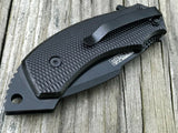 "8.0"" TAC FORCE SPRING ASSISTED LARGE DROP POINT TACTICAL BLACK POCKET KNIFE OPEN - Frontier Blades"