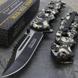 "8.25"" Tac Force Fantasy Gray Skulls Tactical Sawback Pocket Knife - Frontier Blades"