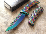 "8"" Tac Force Heavy Duty Chainlink Rainbow Tactical Pocket Knife - Frontier Blades"