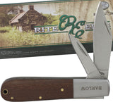 "7.5"" Rite Edge Barlow Wood Handle Double Blade Pocket Knife - Frontier Blades"