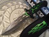 "12"" Dead Walker Zombie Skull Survival Knife Green Flame Blade For Sale - Frontier Blades"