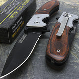 "7"" Tac Force Speedster Model Wood Handle Hunting Knife - Frontier Blades"