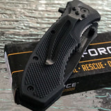 "8"" Tac Force EDC Textured Rubber Grip Black Tactical Pocket Knife - Frontier Blades"