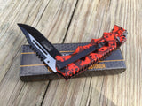"8.25"" Tac Force Speedster Red Skulls Tactical Fantasy Pocket Knife - Frontier Blades"