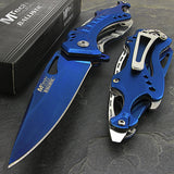 "8.25"" MTech USA Blue Spring Assisted Tactical Pocket Knife - Frontier Blades"