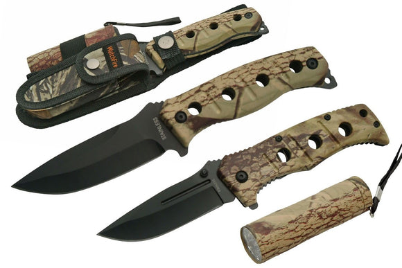 WatchFire Hunting Camping Knives Set Survival Camo Kit w/ LED Light - Frontier Blades