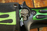 "12"" FULL TANG ZOMBIE SKULL DOUBLE FLAME BLADE GREEN SURVIVAL KNIFE WITH SHEATH - Frontier Blades"
