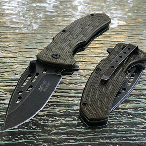 "MTECH 8.25"" Spring Assisted Tactical Green Handle Folding Pocket Knife Open New - Frontier Blades"