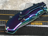 "7"" Tac Force Executive Rainbow Mirror Tactical Folding Pocket Knife - Frontier Blades"