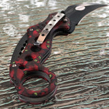 Z-Killer Zombie Red Skull Ninja Karambit Claw Fantasy Pocket Knife - Frontier Blades