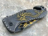 Dark Side Blades Ballistic Fantasy Yellow Dragon & Flames Mini Knife - Frontier Blades