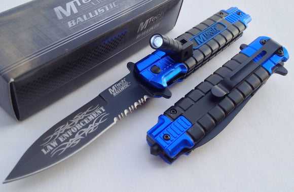 "MTECH POLICE Spring Assisted Tactical Rescue Blue Pocket Knife w Led Light 7.5"" - Frontier Blades"