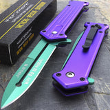 "7.5"" Batman Joker Spring Assisted Stiletto Folding Pocket Knife - Frontier Blades"