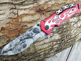 "8"" Tac Force Red Skulls Chain & Flames Quality Fantasy Pocket Knife - Frontier Blades"
