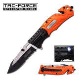 "7.75"" Tac Force EMS EMT Rescue LED Flashlight Assisted Pocket Knife - Frontier Blades"