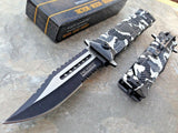 "7.5"" Tac Force White Snow Camo Rescue Assisted Pocket Knife - Frontier Blades"
