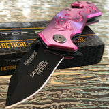 "8.5"" Dragon Strike Spring Assisted Tactical Pink Dragon Pocket Knife - Frontier Blades"