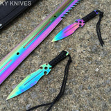 "27"" Fantasy Master Full Tang Rainbow Ninja Sword With Throwing Knives - Frontier Blades"