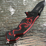 "7.75"" TAC FORCE SPRING ASSISTED TACTICAL RED DRAGON Rescue Folding Pocket Knife - Frontier Blades"