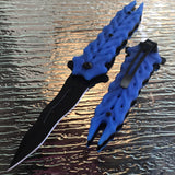 "8.25"" Master Spring Assisted Tactical Blue Handle Folding Pocket Knife - Frontier Blades"
