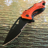 "8"" Tac Force EMS EMT Rescue Spring Assisted Orange Pocket Knife - Frontier Blades"