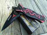 "8"" Tac Force Red Dragon Flame Fantasy Pocket Knife - Frontier Blades"