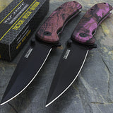 "8"" Tac Force Purple Camo Spring Assisted Pocket Knives (TF-764PE) - Frontier Blades"