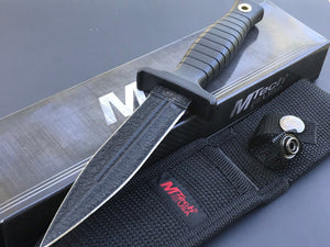 "MTECH Black Tactical 9"" Fixed Blade DOUBLE Edge Dagger BOOT Knife + Sheath New - Frontier Blades"