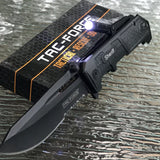 "8.5"" Tac Force Sheriff Police Pocket Knife w/ LED Light (TF-875BK) - Frontier Blades"