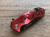 "3.5"" TAC FORCE Dragon Mini Red Black Small Outdoor Tactical Rescue Pocket Knife - Frontier Blades"