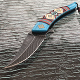 "NATIVE AMERICAN INDIAN SPRING ASSISTED FOLDING KNIFE Open Assist Blade 8.5"" - Frontier Blades"
