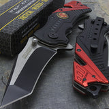 "TWO 7.5"" FIRE FIGHTER RESCUE ASSISTED FOLDING KNIFE TF-640FD - Frontier Blades"