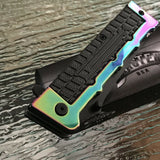 "SPRING ASSISTED TACTICAL RAINBOW TANTO FOLDING POCKET KNIFE BLADE ASSIST 8.3"" - Frontier Blades"