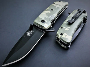 "8"" Master USA Military Green Digital Camo EDC Folding Pocket Knife - Frontier Blades"