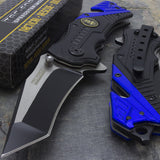 "7.5"" Police Rescue Tanto Blade Assisted Open Tactical Folding Pocket Knife Blade - Frontier Blades"