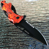 Spring Assisted Tactical Hunting Camping ORANGE CAMO Folding Pocket Knife Open - Frontier Blades