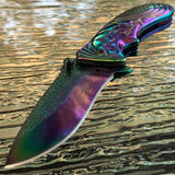 "7"" Femme Fatale Flower Etching Rainbow Pocket Knife FF-A008RB - Frontier Blades"