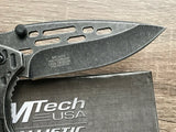 "8"" MTECH ASSISTED TACTICAL STONE GRAY FOLDING POCKET KNIFE OPEN HEAVY DUTY - Frontier Blades"