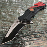 "8.5"" Tac Force Black & Red Fire Fighter Tanto Rescue Pocket Knife - Frontier Blades"