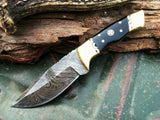 "8"" CUSTOM DAMASCUS STEEL HUNTING KNIFE BOWIE BUFFALO HORN HANDLE - Frontier Blades"