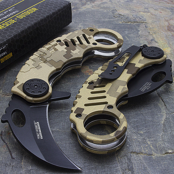 TAC FORCE KARAMBIT SPRING ASSISTED TACTICAL CAMO FOLDING KNIFE Blade Pocket Open - Frontier Blades